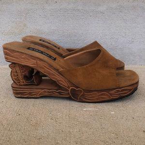 Vintage Slip On Carved Wooden Heel Wedges
